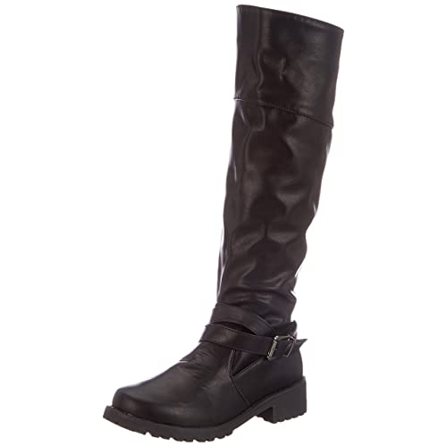 b7717c987 Botas para Mujer De Cuero Planos Largo Botas Altas Las Rodillas Alto Otoño  Cremallera Zapatos De
