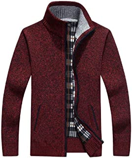 UUYUK Men Long Sleeve Open Front Full Zip Knitted Regular Fit Thick Sweater