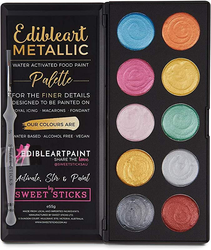 Sweet Sticks Edible Art Water Activated Metallic Colors Paint Palette