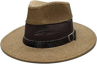 Women's Men's Unisex's Summer Straw Wide Brim Beach Panama Sun Fedora Hat Hollow Out Mesh Snake Skin TuanTuan (Color : Coffee, Size : 58cm)