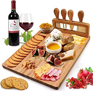 Bamboo Cheese Board Set, Charcuterie Platter and Serving Meat Board Including 4 Stainless Steel Knife and Serving Utensil...