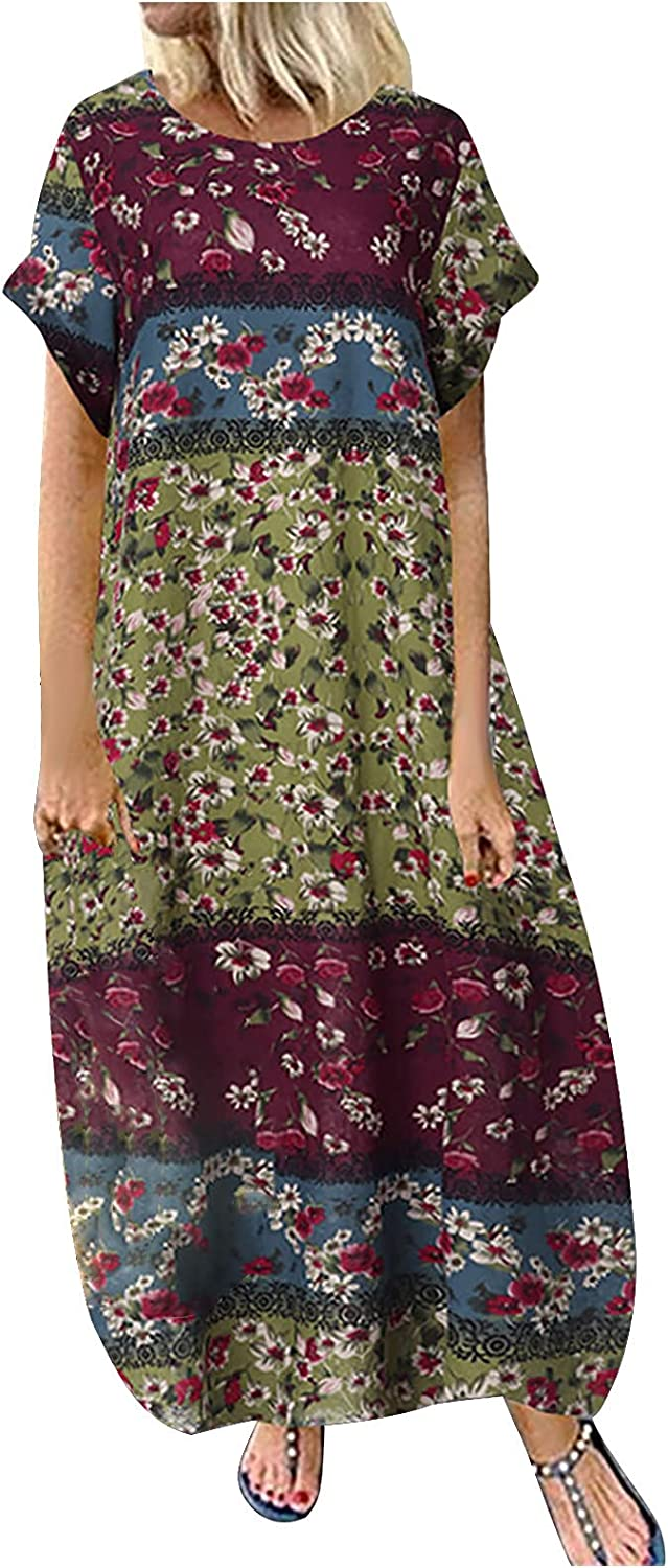 Maxi Dress for Women Casual V-Neck 3/4 Sleeve Dress Loose Retro Cotton And Linen Printing Dresses