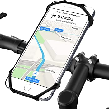 NOZOMY Bike & Motorcycle Phone Mount,Detachable 360° Rotation Bike Phone Holder for Handlebars, Universal Silicone Phone Holder for Bike fit for iPhone 11/X/8/7/6 Series and Android Phones.