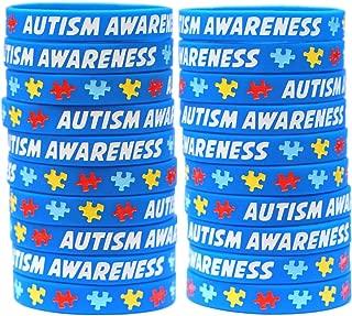 20 Autism Awareness Wristbands - Colorful Puzzle Pieces Silicone Bracelets