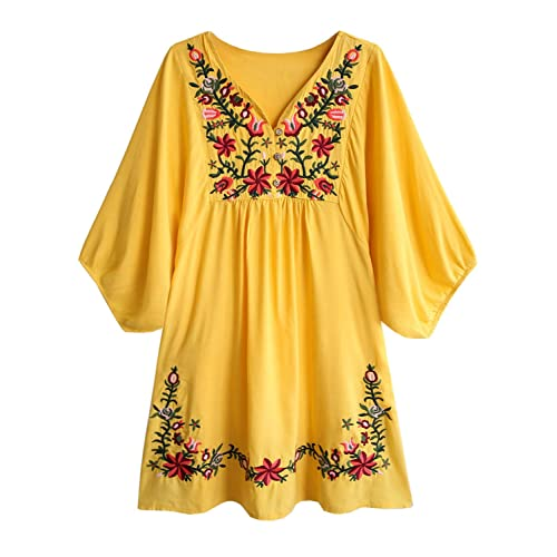 a0c04d73c62 futurino Women's Bohemian Embroidery Floral Tunic Shift Blouse Flowy Mini  Dress