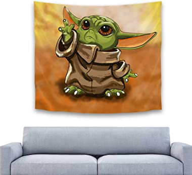 Baby Yoda Tapisserie Tenture Murale Table Rideau Décoration Murale Table Canapé Couverture Pique-nique Tapis 150x130 Cm