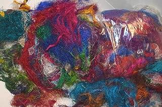 3 oz Sari Silk Waste, Threads, Leftover Art Yarn for Mixed Media Felting Spinning Silk Paper Weaving Fiber, Textile Art Supply