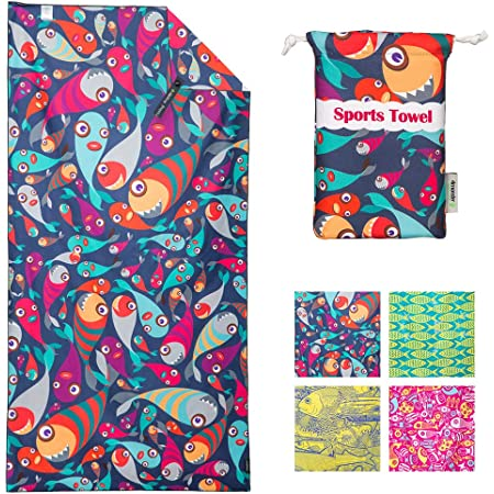 BOYOUTH Microfiber Super Soft Quick Dry Rectangle Beach Towels,Flamingos and Banana Leaf Pattern Digital Print Bath Towel for Swimming Pool,Indoor and Outdoor Sports,Beach,Gym,59 x 30 Inches