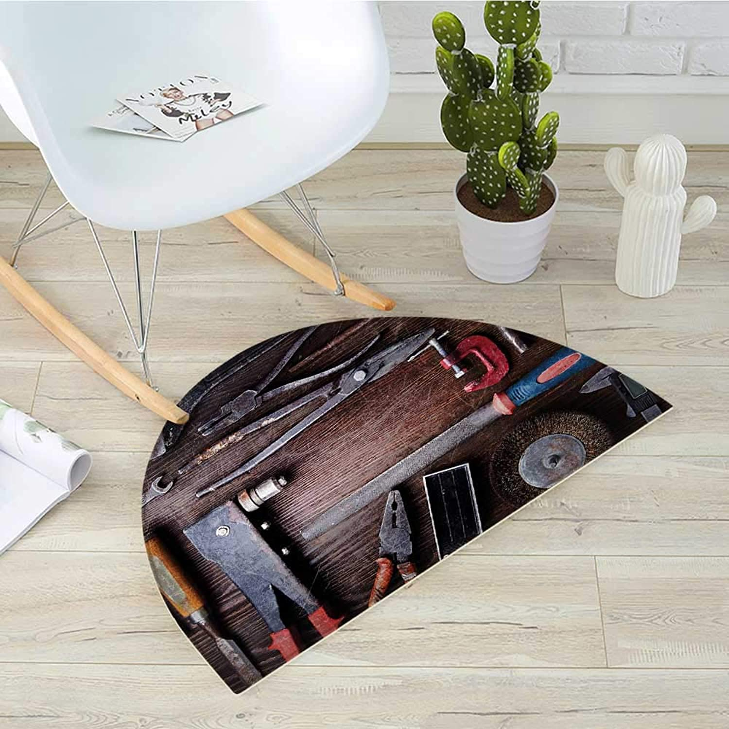 Industrial Semicircle Doormat Crafting Equipment with Obsolete Dusty Mechanic Tools Collection of a Carpenter Halfmoon doormats H 35.4  xD 53.1  Multicolor