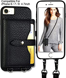 JM JUST MUST iPhone 8 Wallet Case, iPhone 7 Crossbody Case Credit Card Holder Slot Leather Case, Detachable Crossbody Strap for Women Card Case Compatible with iPhone 8 /iPhone 7/iPhone 6 4.7 inch