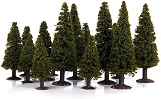 WINOMO 15pcs Green Scenery Landscape Model Cedar Trees