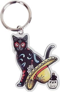 Cali's, Pretty In Ink Gato Con Sombrero, Officially Licensed Artwork - Metal Keychain