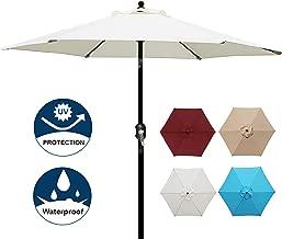 Blissun 7.5 ft Patio Umbrella, Yard Umbrella with Push Button Tilt and Crank (Beige)