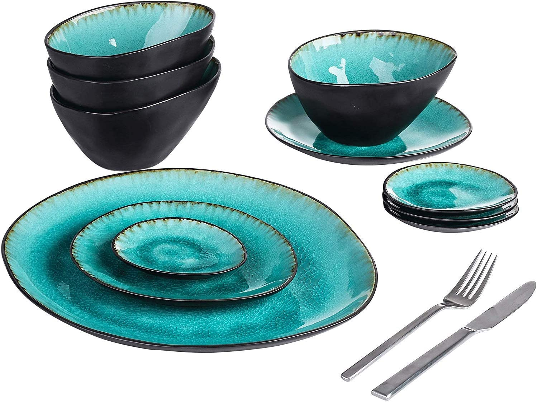 JL819 11-Piece Pottery Stoneware Vintage Set Ceramic With Dinner Elegant Choice