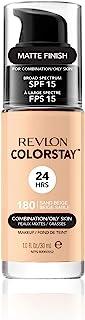 Revlon Colorstay 24H, Base de maquillaje para rostro, para cutis mixto/graso, con dosificador, color Beige (180 Sand Beige), 30ml