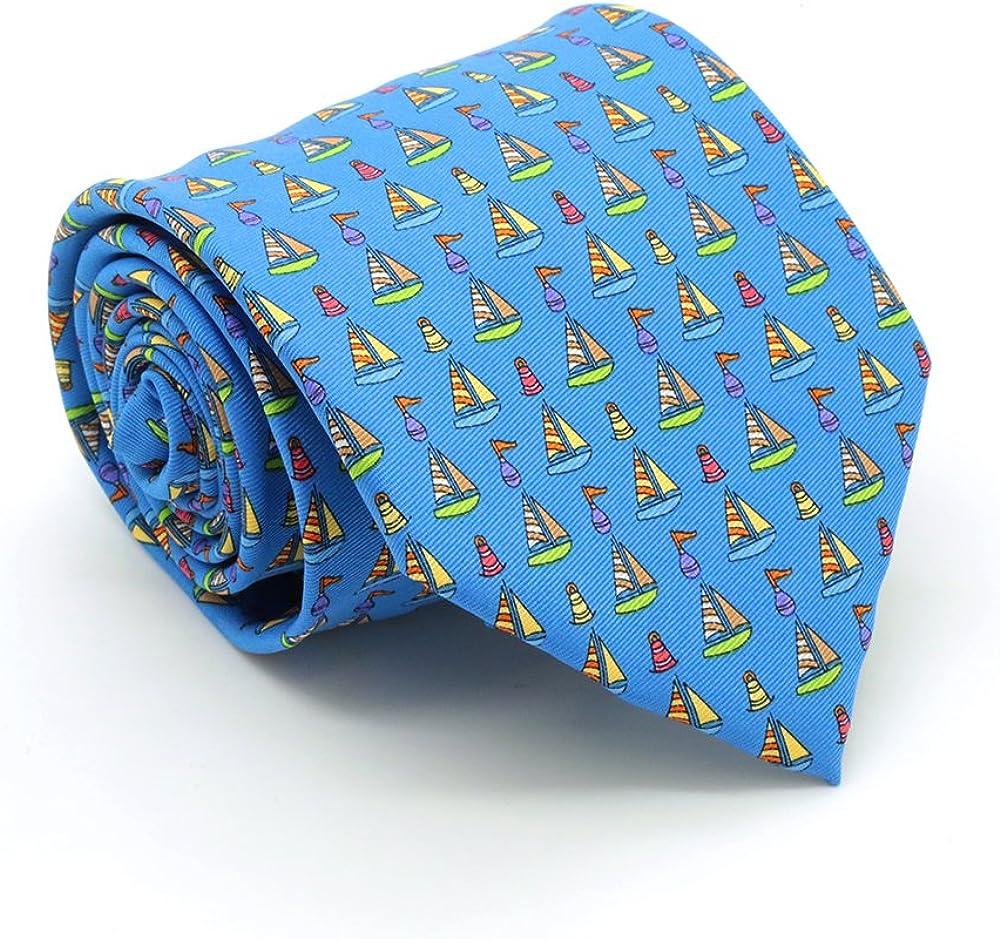 Men's Printed Designer Necktie - Sail Boat Design with Handkerchief Set in Many Colors