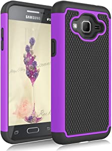 Galaxy Sky Case,Galaxy J3 2016/J3 V Case,Galaxy Express/Amp Case,Galaxy Sol Case, Jeylly Shockproof Dual Layer Armor Defender Scratch Absorbing Hybrid Rubber Plastic Phone Case Cover - Purple