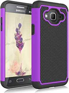 Galaxy Sky Case,Galaxy J3 Case,Galaxy Express Prime Case,Galaxy Amp Prime Case,J3V Case, Jeylly Shockproof Dual Layer Armor Defender Scratch Absorbing Hybrid Rubber Plastic Phone Case Cover - Purple