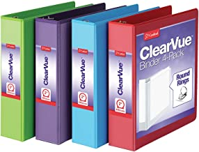 Cardinal 3 Ring Binders, 2 Inch Binder with Round Rings, Holds 475-Sheets, ClearVue Covers, Non-Stick, PVC-Free, Assorted ...