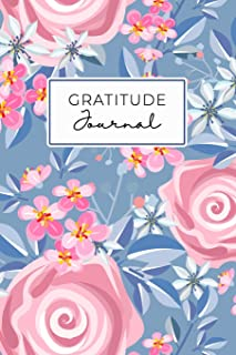 Gratitude Journal: Daily Gratitude Journal 52 Week Diary for A Happier You In One Minute A Day Navy Pink Roses Floral
