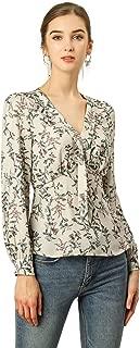 Allegra K Women's Deep V Neck Long Sleeves Tie Front Floral Peplum Top