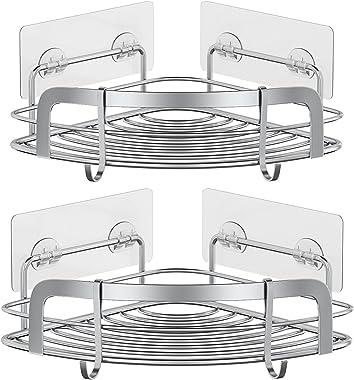 STEUGO Adhesive Shower Corner Caddy, Bathroom Corner Shower Shelf, Wall Mounted Shower Shelving with 4 Movable Hooks, SUS304