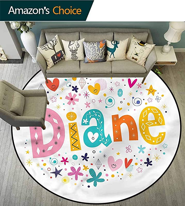 RUGSMAT Diane Anti Skid Area Rug Festive Baby Girl Name Non Slip No Shedding Kitchen Soft Floor Mat Diameter 24