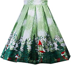 Falda de Navidad Retro Vintage Estilo británico Harajuku Kawaii de Invierno para Oficina o Pinup Big Swing Faldas Plisadas