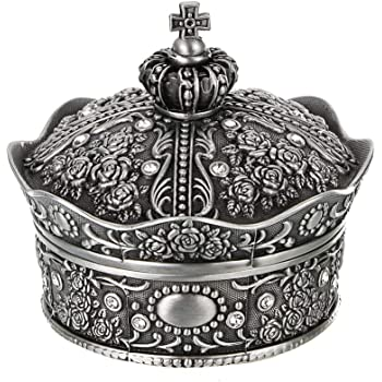 Hipiwe Vintage Jewelry Box, Antique Crown Design Trinket Treasure Chest Storage Organizer,Metal Earrings/Necklace/Ring Holder Case, Keepsake Giftb Box for Girls Women (Small)