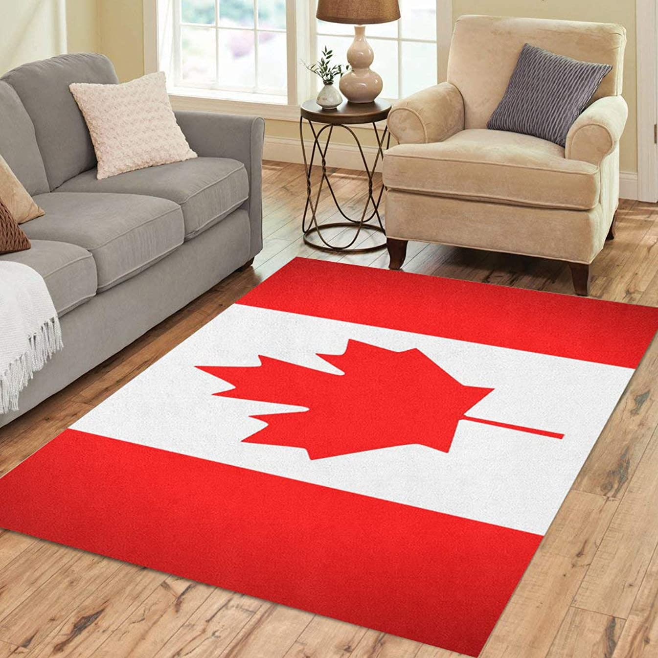 Pinbeam Area Rug Red Leaf Canada Flag Maple Canadian Quebec White Home Decor Floor Rug 5' x 7' Carpet