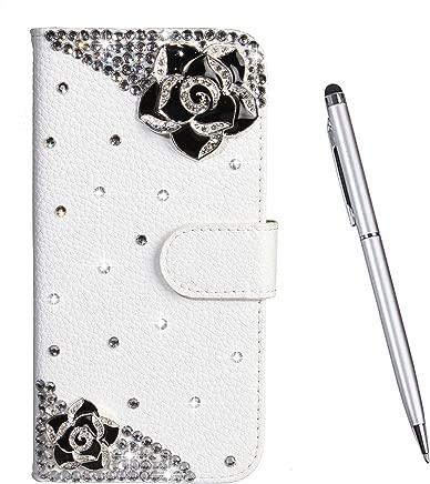 Toucasa Case for Samsung Galaxy 2018  Diamond Series  Retro Premium Leather Shockproof Flip Magnetic Kickstand Card Slots Wallet Case Folio  Black Flowers