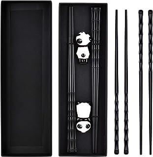 Queta Bacchette, 2 Paia Bacchette in Fibra di Vetro per la Forma di bambù Bacchette Giapponesi Nere per Piatti Asiatici co...