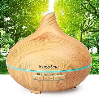 موزع لروائح الزيوت العطرية الأساسية بسعة 300 مل، مرطب من خشب الحبوب من انوكير - 7 أضواء LED ملونة، غلق ذاتي عند نفاذ الميا...