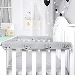 Designthology (U.S.) 2-Pack Super Breathable Narrow Crib Rail Cover for 2 Side Rails - 100% Cotton Muslin, Gray, for Rails Measuring up to 8