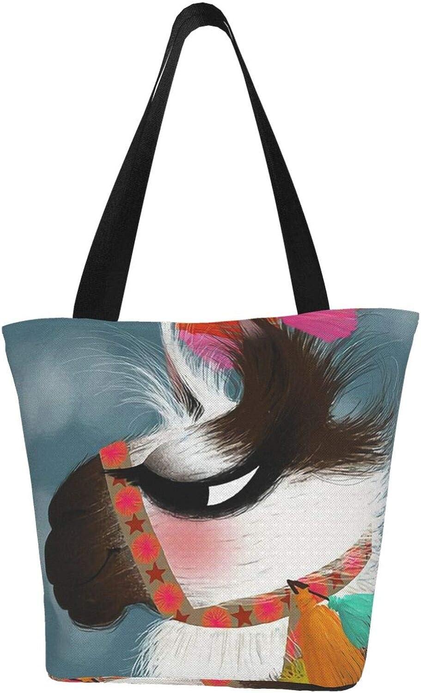Art Black And White Llama Themed Printed Women Canvas Handbag Zipper Shoulder Bag Work Booksbag Tote Purse Leisure Hobo Bag For Shopping