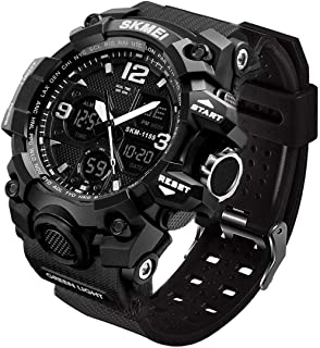 LYMFHCH Men's Analog Sports Watch, LED Military Digital Watch Electronic Stopwatch Large Dual Dial Time Outdoor Army Wrist...