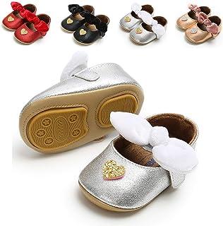 Baby Girls Soft Sole Mary Jane Princess Floral Shoes Anti-Slip Infant Prewalker Dress shoes