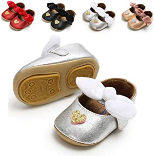 TIMATEGO Baby Girls Mary Jane Flats with Bowknot Non-Slip Toddler First Walkers Princess Dress Shoes