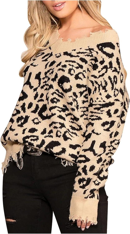 Women's Soft Fringe Long Sleeve V Neck Ribbed Knit Sweater Leopard Print Oversize Fall Winter Pullover Tops