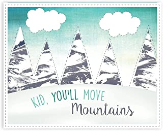 Kid, You'll Move Mountains 24x36 Inch Print, Inspirational Dr. Seuss, Beautiful Inspirational, Motivational Poster, Quotes Rustic Wall Decor Bedroom Nursery Wall Art Sayings, Gender Neutral Décor