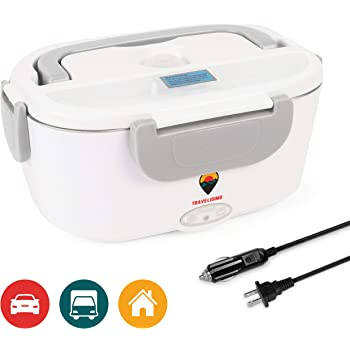 TRAVELISIMO Electric Lunch Box 2 in 1 - Portable Food Warmer for Car, Truck, Home and Work 12V & 110V 40W - Includes 2 Compartments, Removable Stainless Steel Food Heater Container