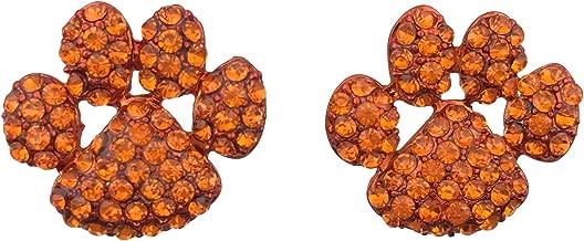 Gypsy Jewels Paw Print School Spirit Mascot Rhinestone Stud Post Earrings - Assorted Colors