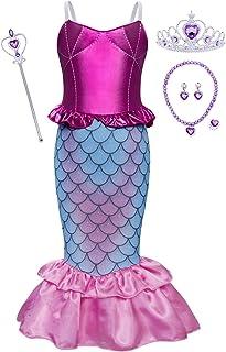 Jurebecia Princesa Vestidos Niñas Sirenita Disfraz Fiesta de Cumpleaños Mermaid Manga Larga Outfit con Accesorio Púrpura V...