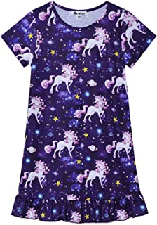 Nightgowns for Girls Unicorn Mermaid Pajamas Short Sleeve Night Dresses