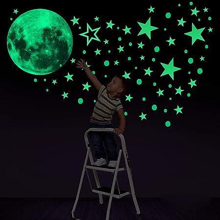 Konsait 435 Points Lune et Etoiles phosphorescentes Stickers Muraux fluorescents Lumineux Autocollant Plafond pour Décoration de Chambre d'enfant bébé