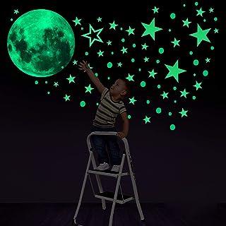 Konsait 435 Points Lune et Etoiles phosphorescentes Stickers Muraux fluorescents Lumineux Autocollant Plafond pour Décorat...