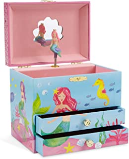 (Mermaid Blue and Pink) - JewelKeeper Mermaid Musical Jewellery Box, Underwater Design with Two Pullout Drawers, Over The Waves Tune
