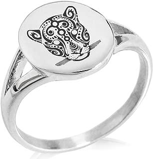 Stainless Steel Mayan Jaguar Rune Symbol Minimalist Oval Top Polished Statement Ring