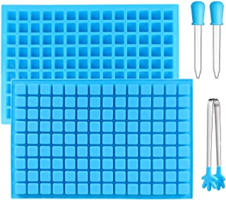Arssilee 2 pack 126-Cavity Square Silicone Mold Mini Candy Molds Ice Cube Tray with 2 Silicone Dropper Clip for Making Hom...