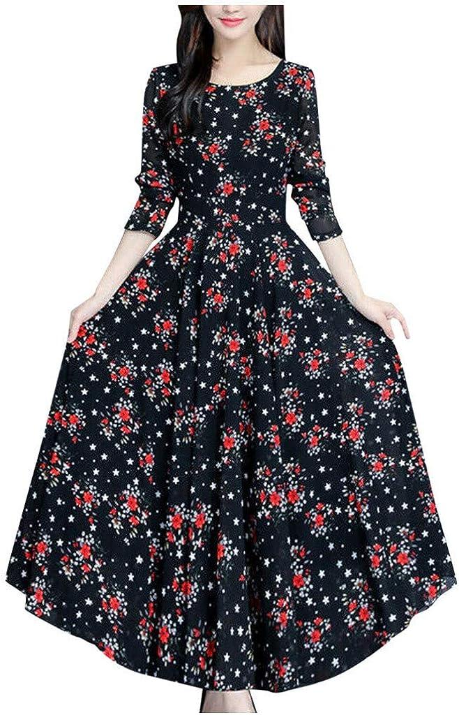Long Sleeve Maxi Dress for Women - Crewneck Casual Tie Waist Boho Floral Print Fall Long Dresses Black dress